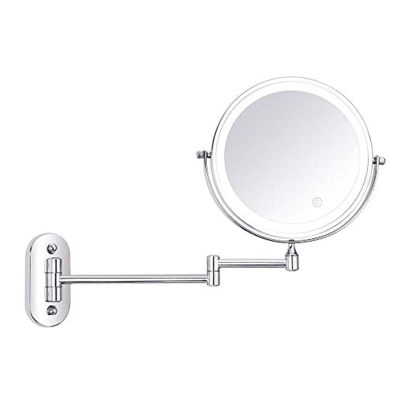 パイプ時間調停者化粧鏡 LED照明壁掛け化粧鏡3倍/ 5倍/ 7倍/ 10倍倍率8インチ両面回転タッチスクリーンバニティミラー拡張可能 浴室のシャワー旅行 (色 : 銀, サイズ : 10X)