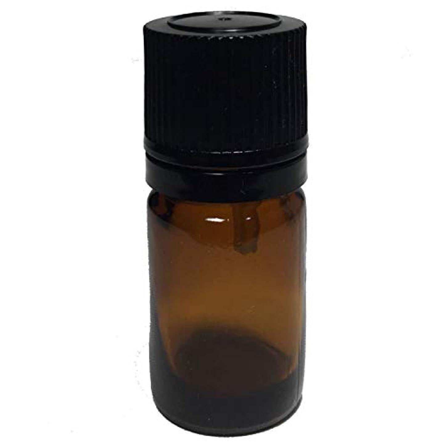 光沢ちらつき実証するエッセンシャルオイル用茶色遮光瓶 ドロッパー付き(黒キャップ) 5ml ガラスビン 10本セット