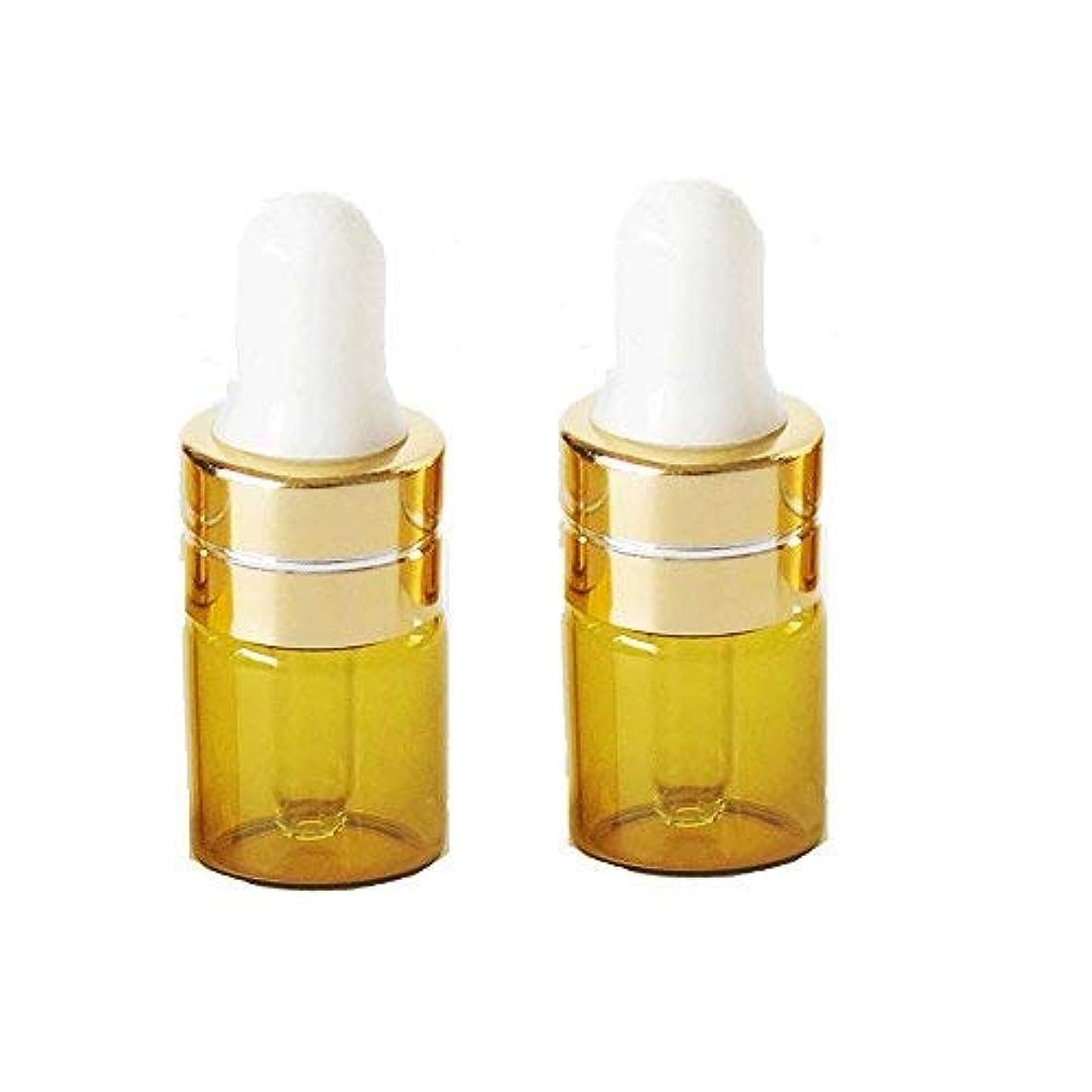 水っぽい間接的校長Grand Parfums 1ml Amber Glass Dropper Bottles with Gold Caps and White Bulb for Essential Oil, Serums, Makeups...