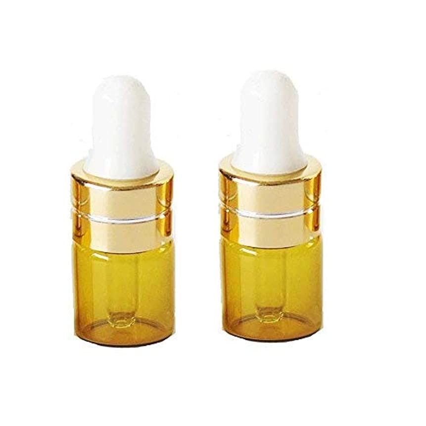 結婚式地下鉄一貫したGrand Parfums 1ml Amber Glass Dropper Bottles with Gold Caps and White Bulb for Essential Oil, Serums, Makeups...