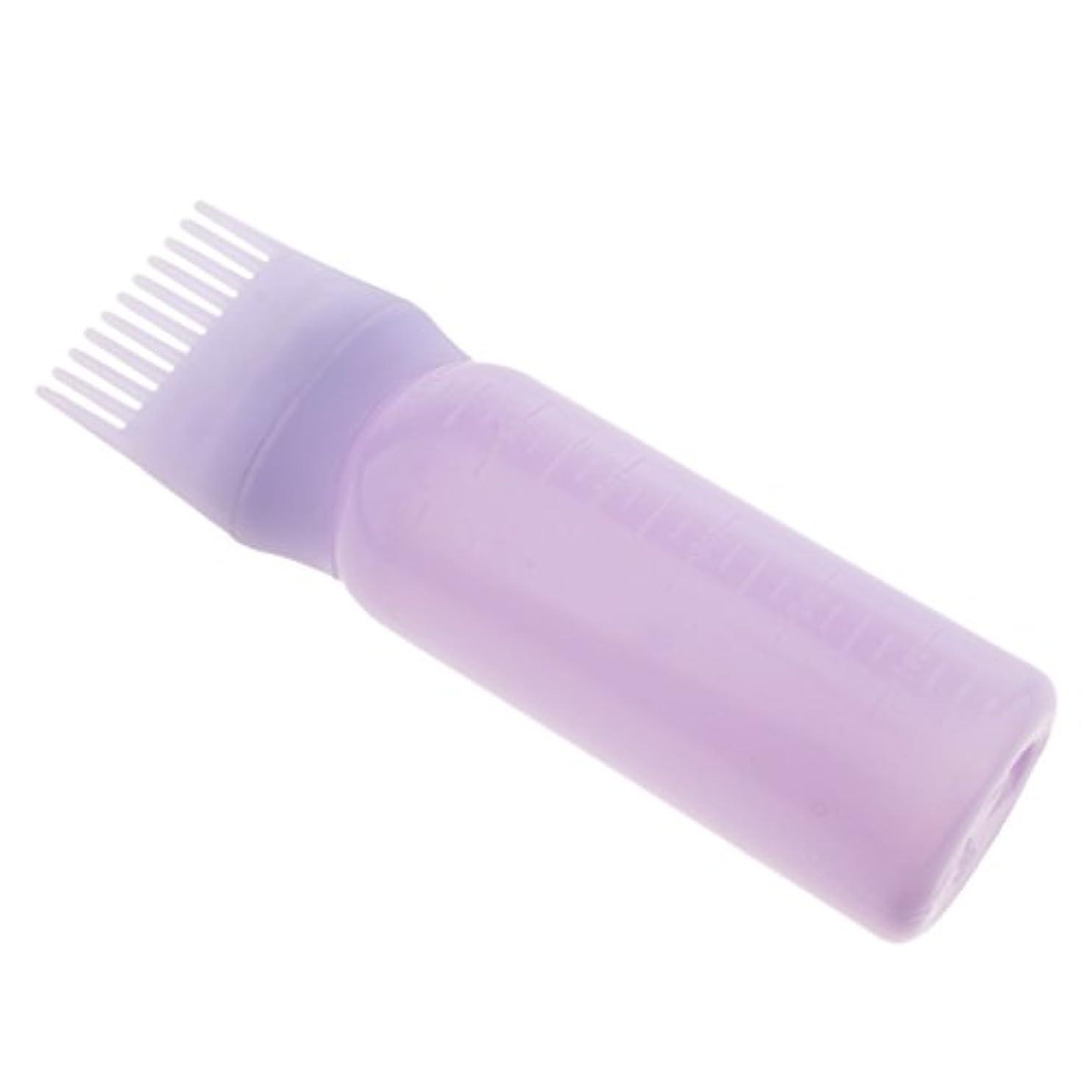 Perfeclan ヘアダイ ヘアカラー ボトル コーム ディスペンサー ブラシ付き 2タイプ選べる - 紫