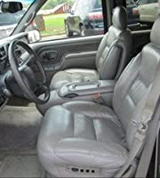 シボレーサバーバン、タホ、およびGMCユーコン キャプテンチェアー シートカバー ダークグレーレザレット製、運転席側電装品および助手席側エレクトリックランバーコントロール付き