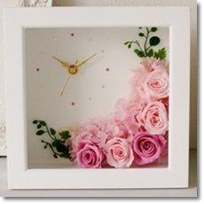 【Eclaire Flower Design】プリザーブドフラワー フラワー時計 壁掛け フレーム(ブライダルピンク)