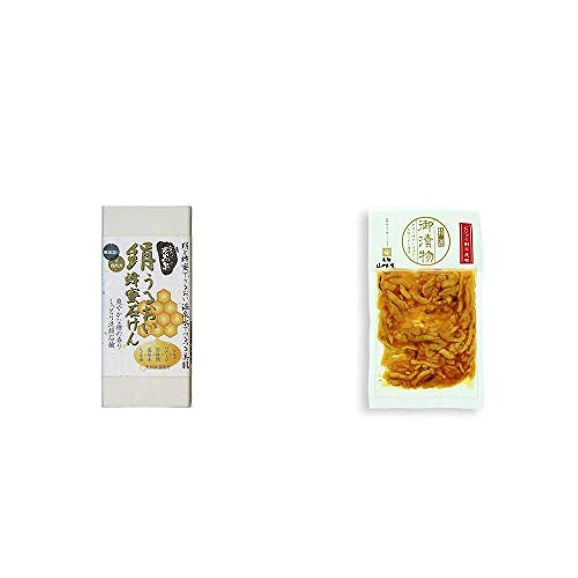 認証つま先朝[2点セット] ひのき炭黒泉 絹うるおい蜂蜜石けん(75g×2)?飛騨山味屋 ピリッと割干し昆布(230g)