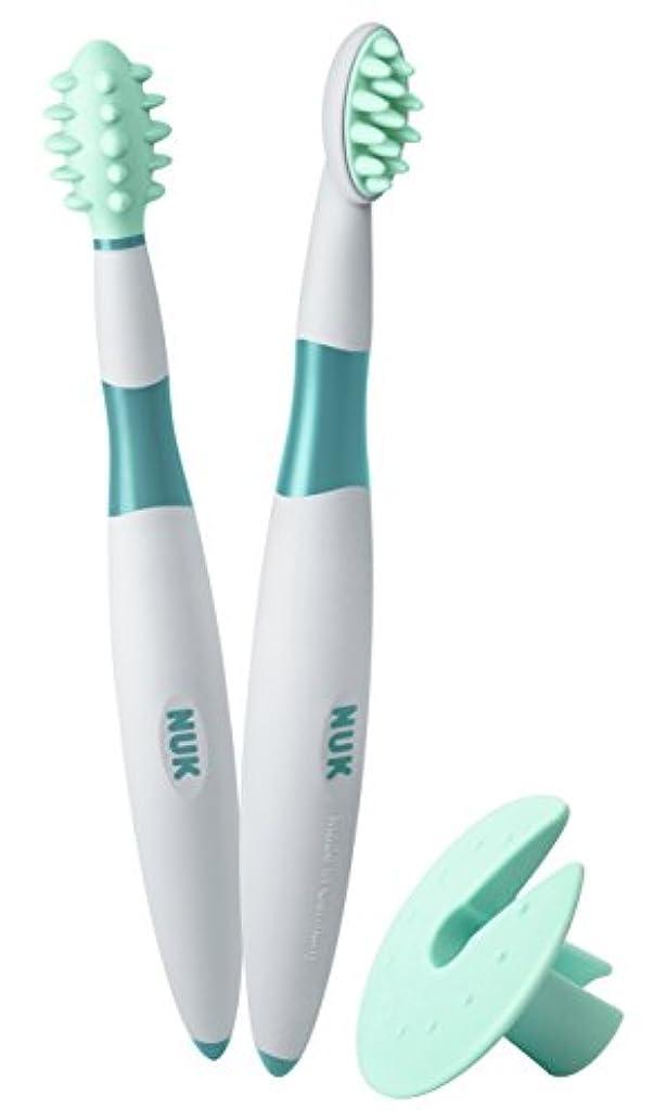 サルベージ乞食汚れるNUK ベビー歯ブラシ 2ピース トレーニングセット BPAフリー マッサージブラシ クリーニングブラシ 保護リング付 (10256205)並行輸入品