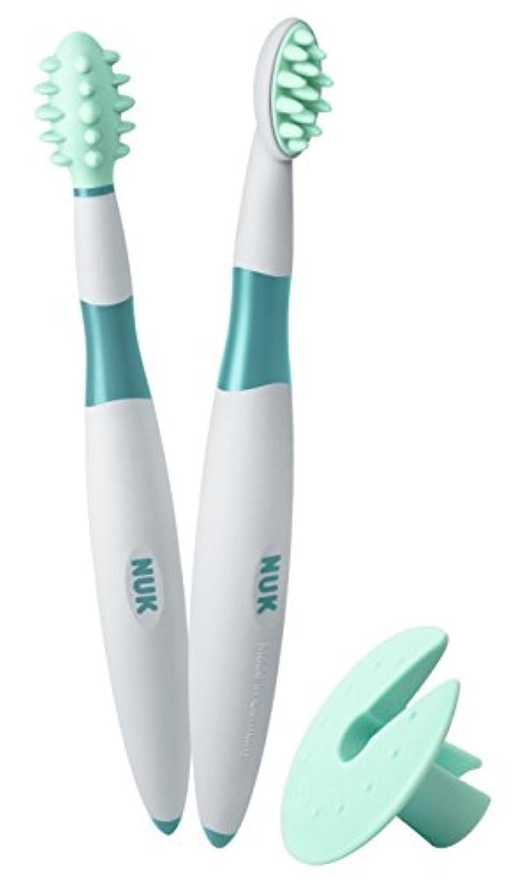 マグにもかかわらず無駄にNUK ベビー歯ブラシ 2ピース トレーニングセット BPAフリー マッサージブラシ クリーニングブラシ 保護リング付 (10256205)並行輸入品