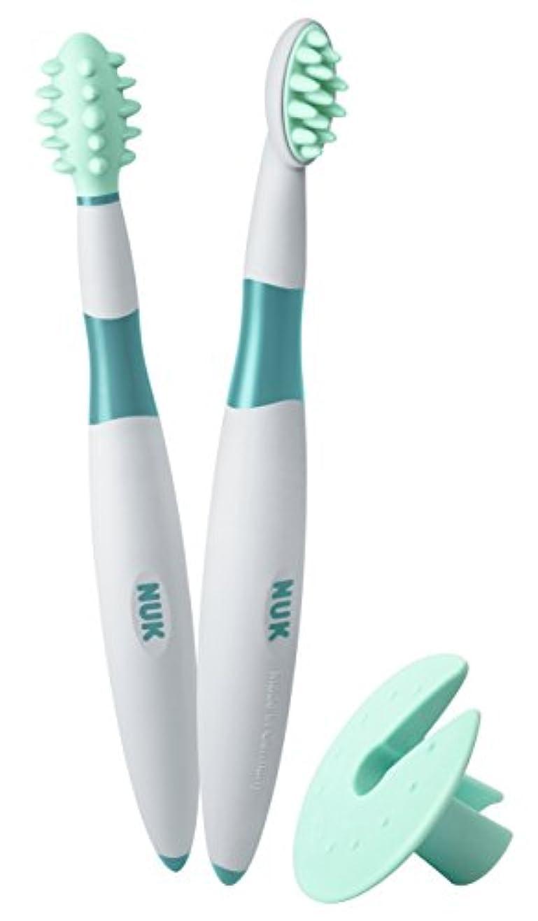 アイデアリスクプレゼンターNUK ベビー歯ブラシ 2ピース トレーニングセット BPAフリー マッサージブラシ クリーニングブラシ 保護リング付 (10256205)並行輸入品