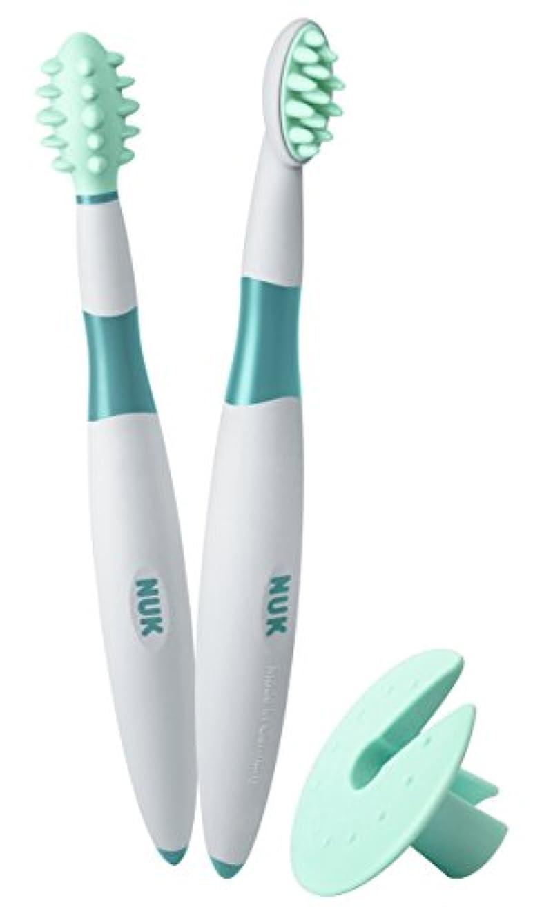 コーンウォール熟達説明するNUK ベビー歯ブラシ 2ピース トレーニングセット BPAフリー マッサージブラシ クリーニングブラシ 保護リング付 (10256205)並行輸入品