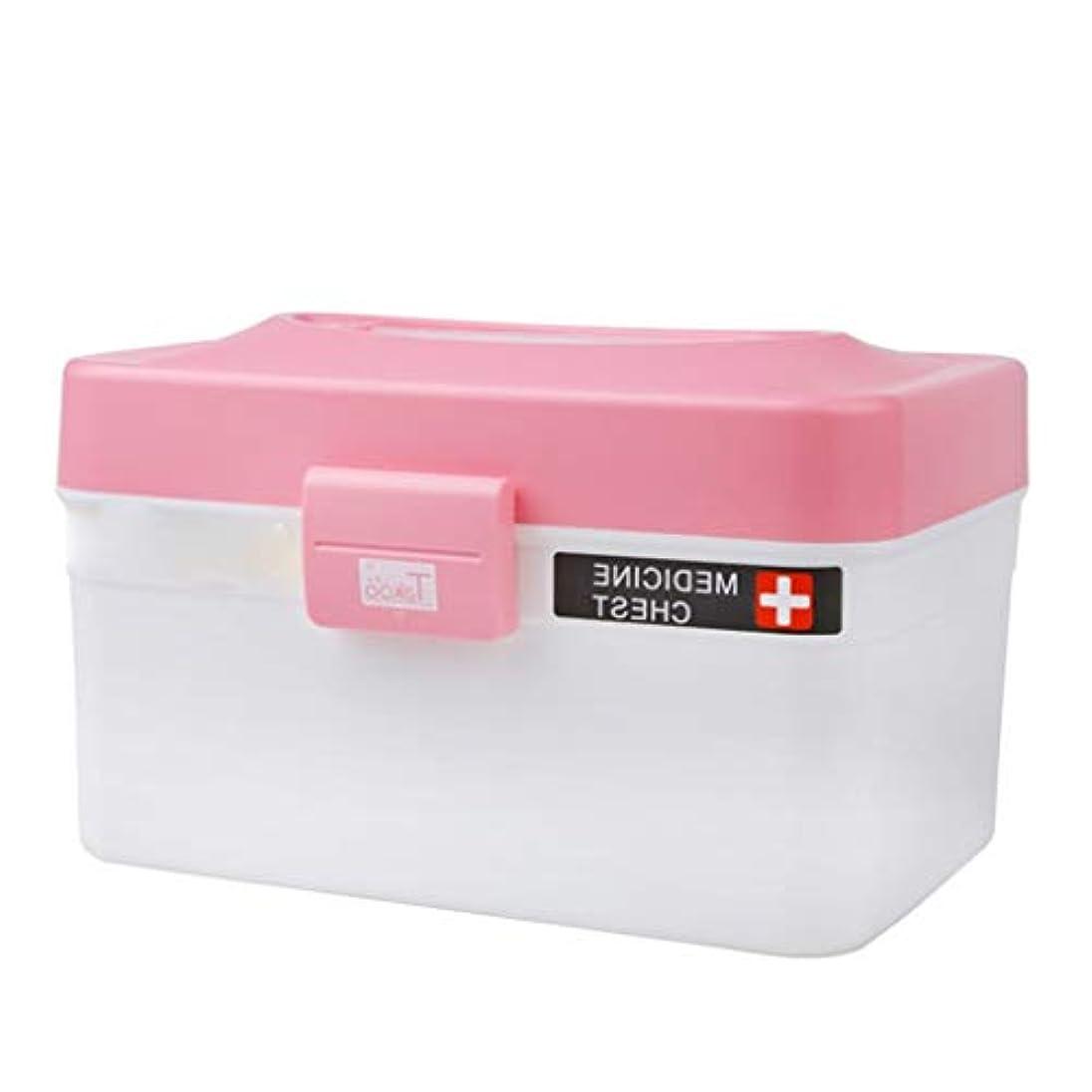 運ぶサスペンション覗くLLSDD 家庭用薬品収納箱厚手のプラスチック製薬品雑貨収納箱キッチンバスルーム雑貨収納箱化粧品収納箱(色:ピンク)