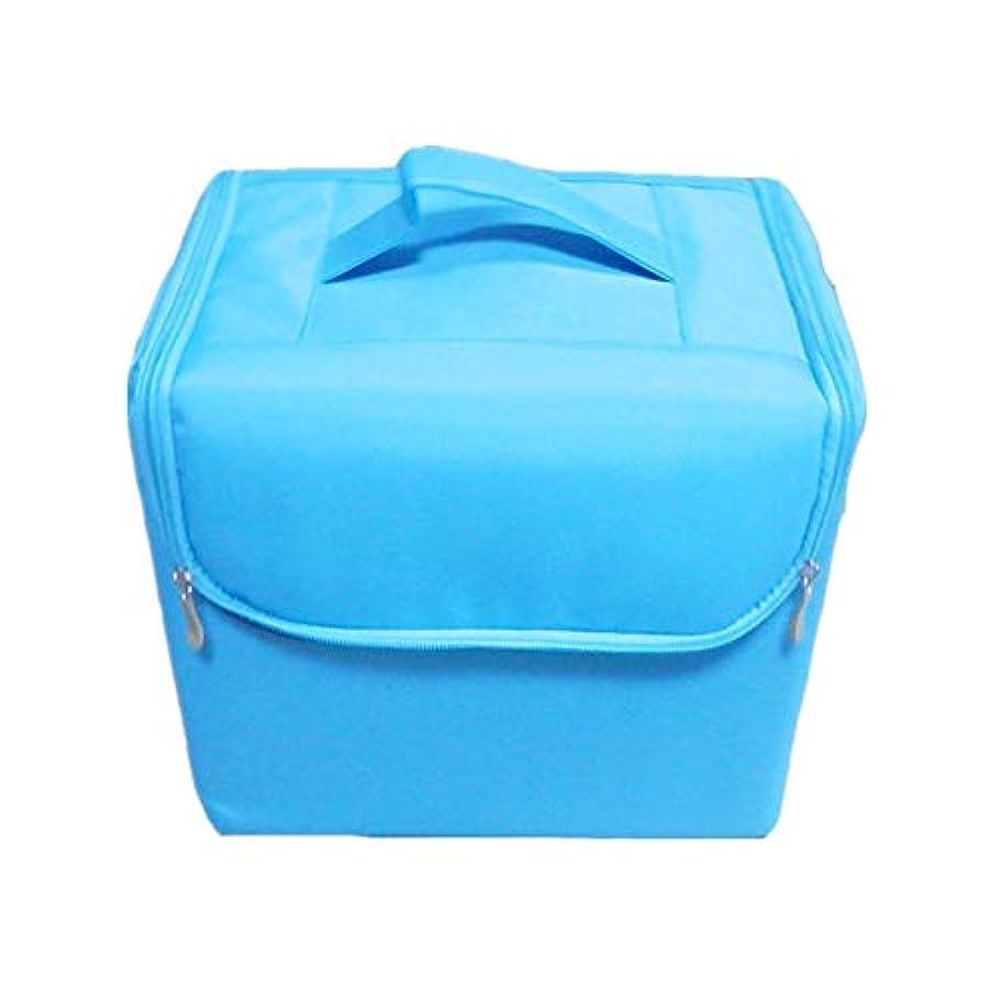 化粧オーガナイザーバッグ 純粋な色ポータブル化粧品バッグ美容メイクアップと女の子の女性の旅行とジッパーとトレイで毎日のストレージ 化粧品ケース