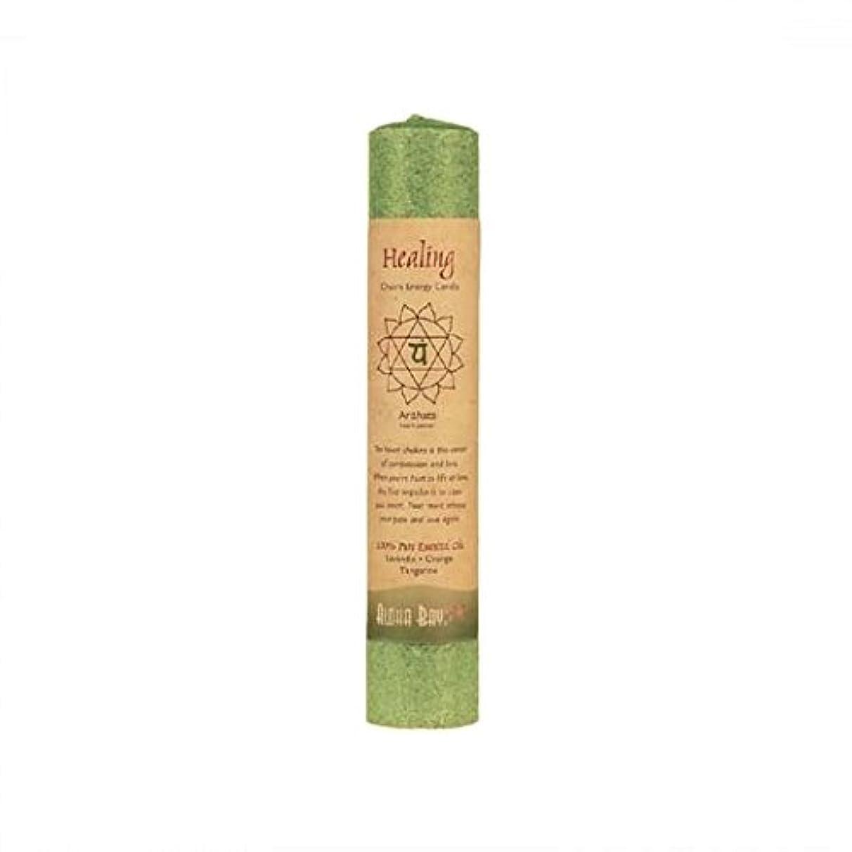 株式会社礼拝かき混ぜるAloha Bay 743518 Aloha Bay Chakra Pillar Candle - Green - 8''
