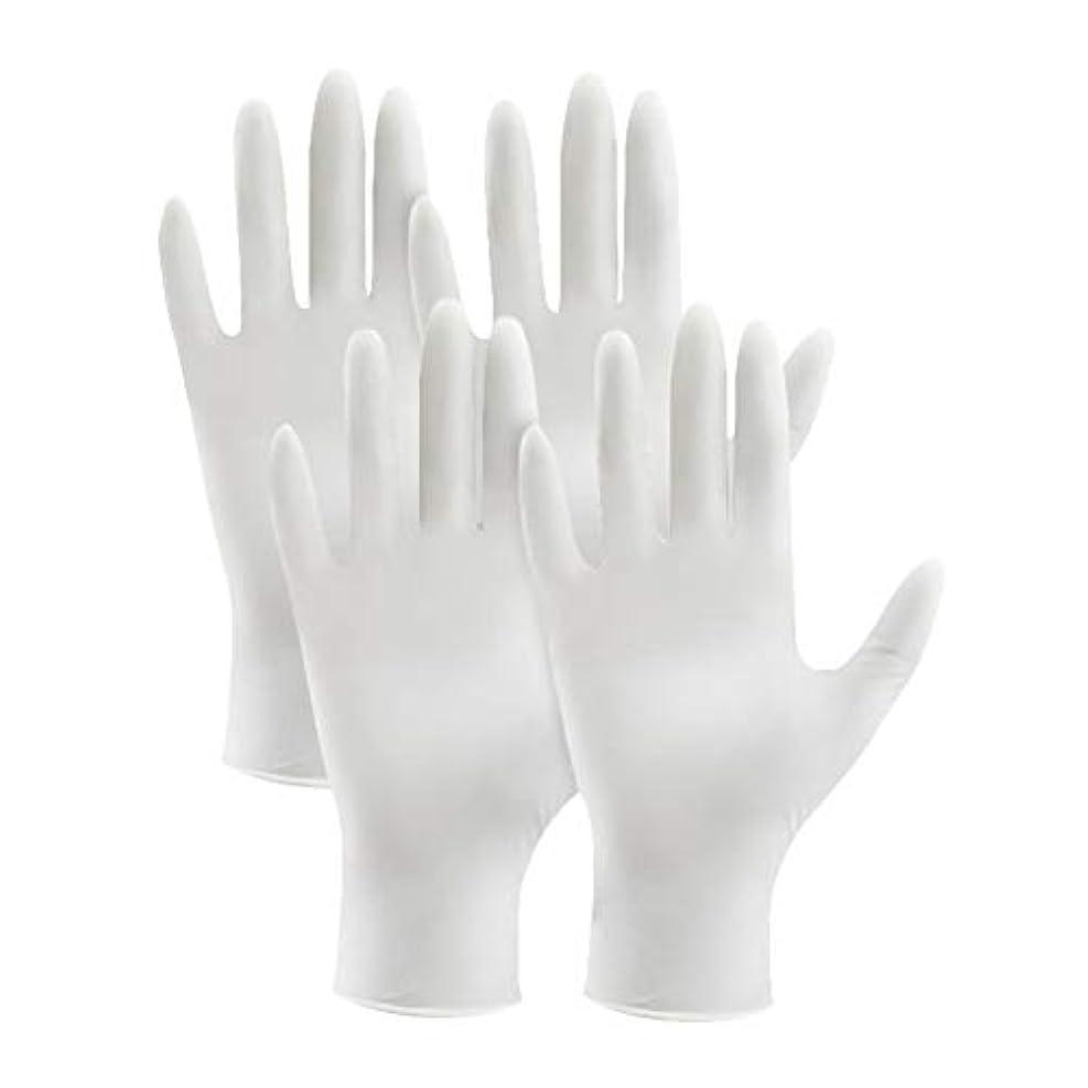 変な水分有効なsupbel ニトリル手袋 使い捨て手袋 粉あり まるで素手の様な感覚で作業ができる 極薄 ゴム手袋 白 ホワイト 左右兼用 品質 作業薄手手袋 4枚入り