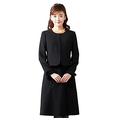 ブラックフォーマル オールシーズン アンサンブル 喪服 礼服 葬儀 一枚着にも 婦人スーツ ノーカラージャケット セレモニー対応 レディース ブラック 5号 B-GALLERY