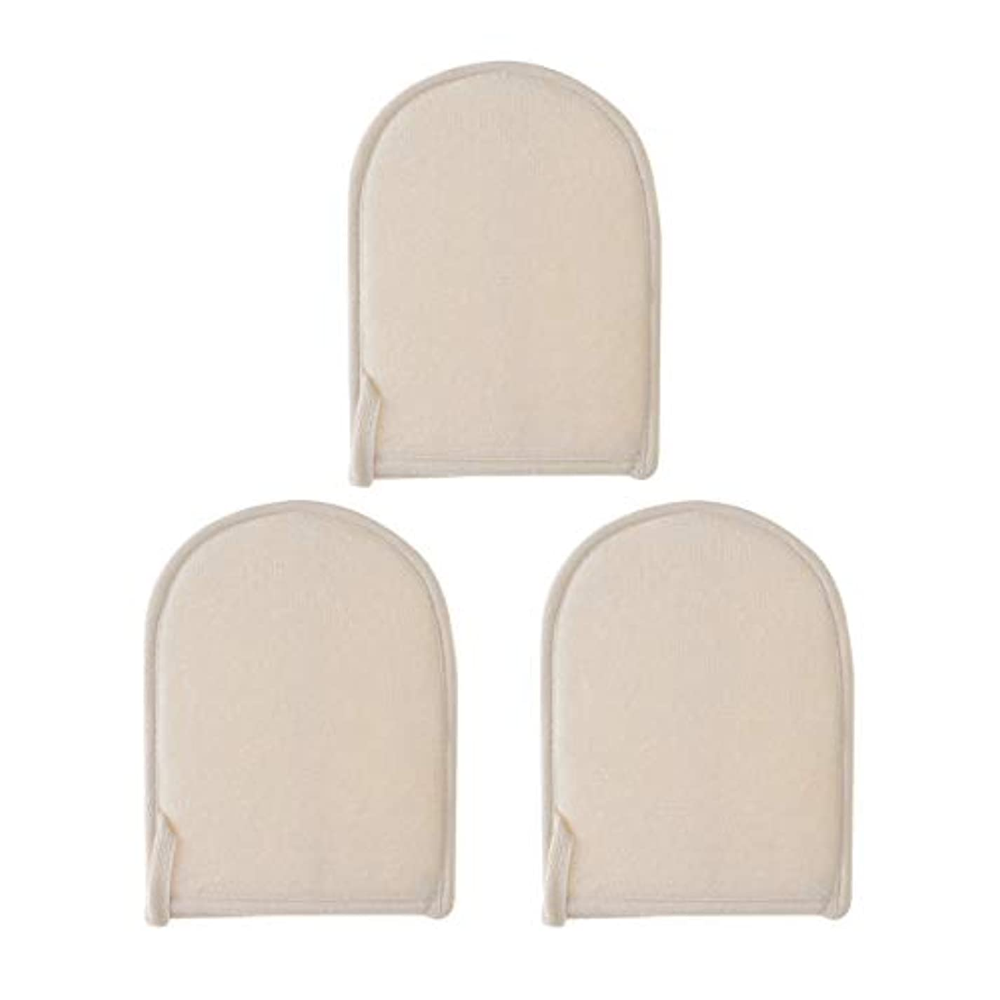 頑張る優雅墓地SUPVOX 3ピース剥離loofahパッドナチュラルLoofahスポンジ手袋風呂スクラバーブラシ用ボディフェイス