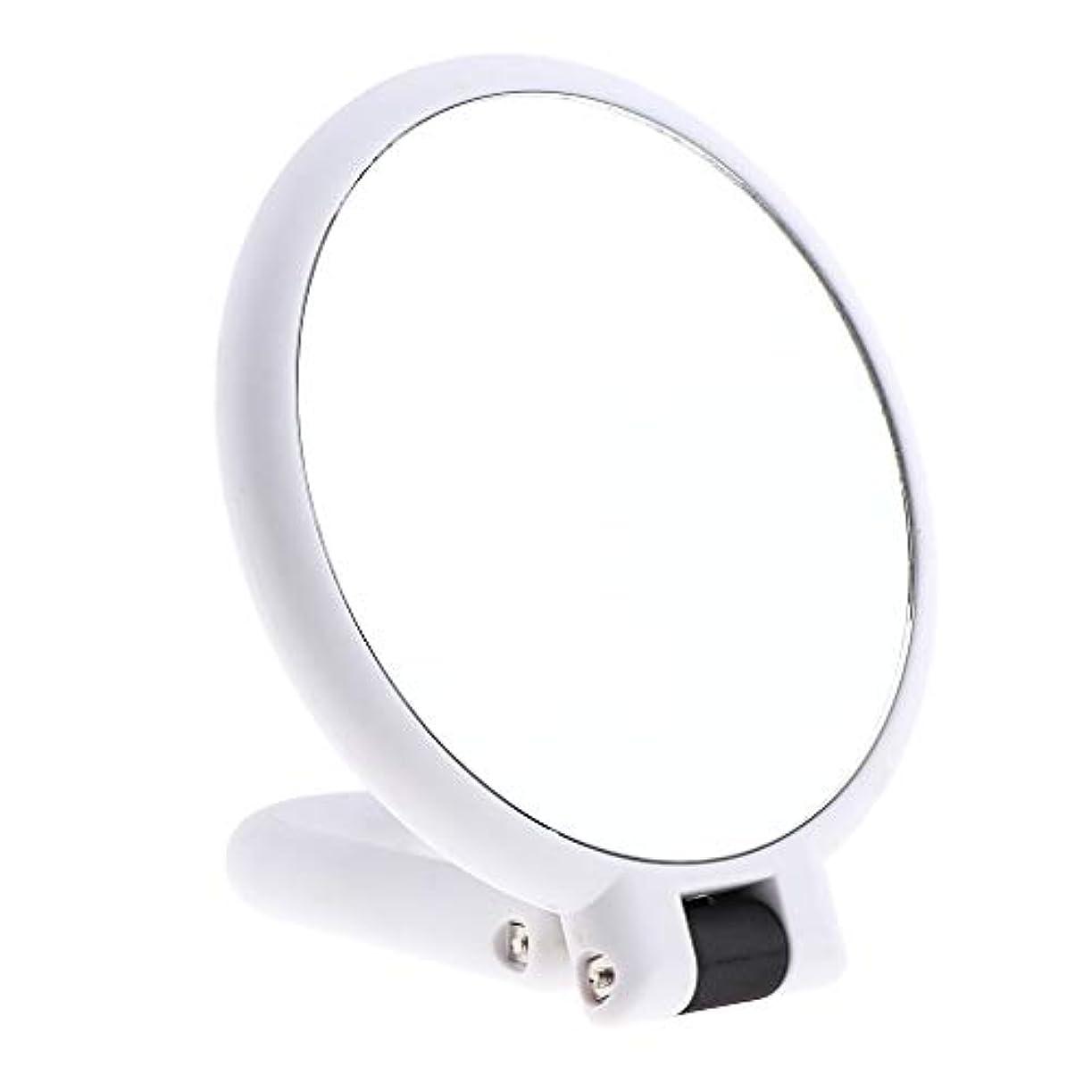 知らせる儀式対応する両面化粧鏡 拡大鏡 ラウンド メイクアップミラー お化粧 ホワイト 5仕様選べ - 15倍