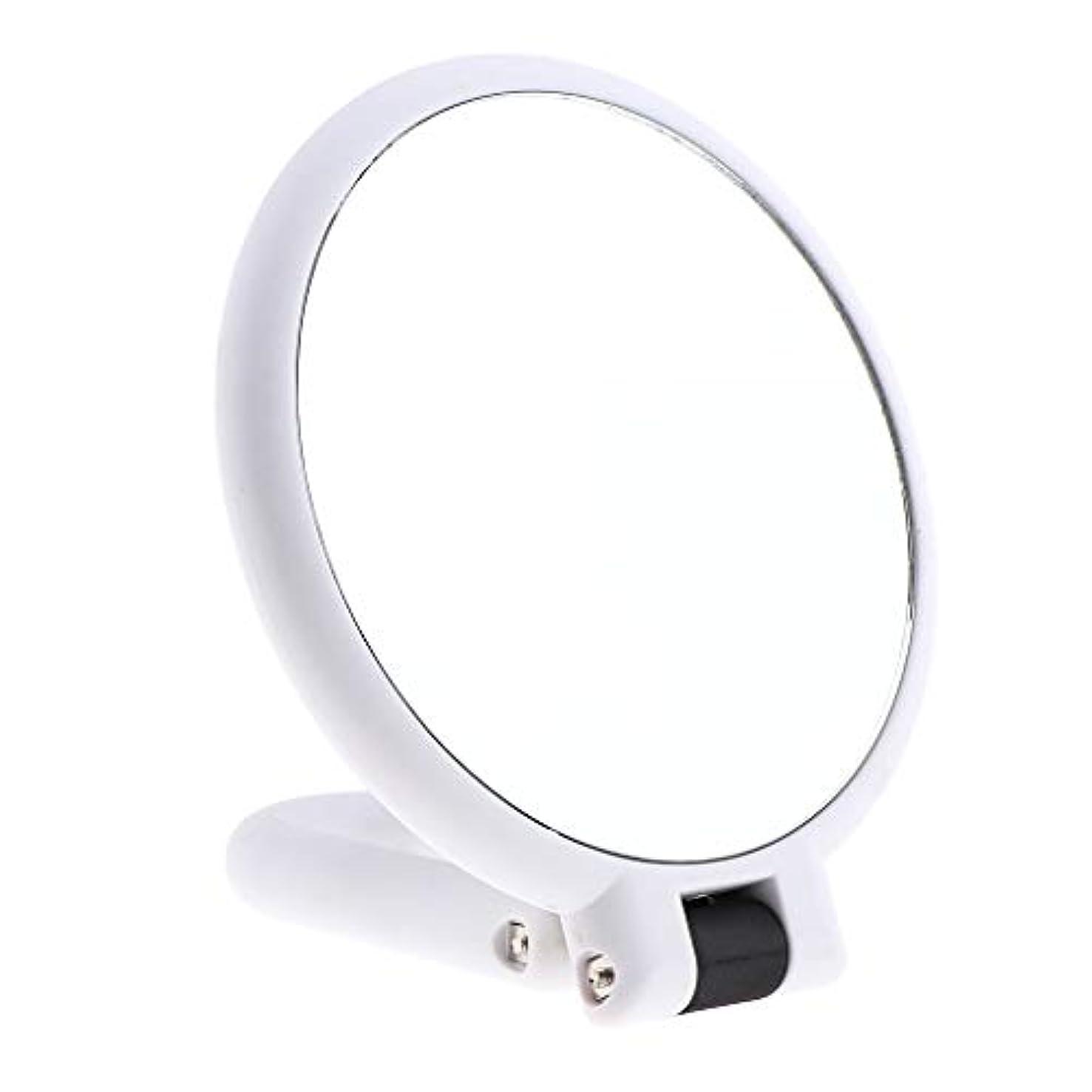 化石バッテリービーム両面化粧鏡 拡大鏡 ラウンド メイクアップミラー お化粧 ホワイト 5仕様選べ - 15倍