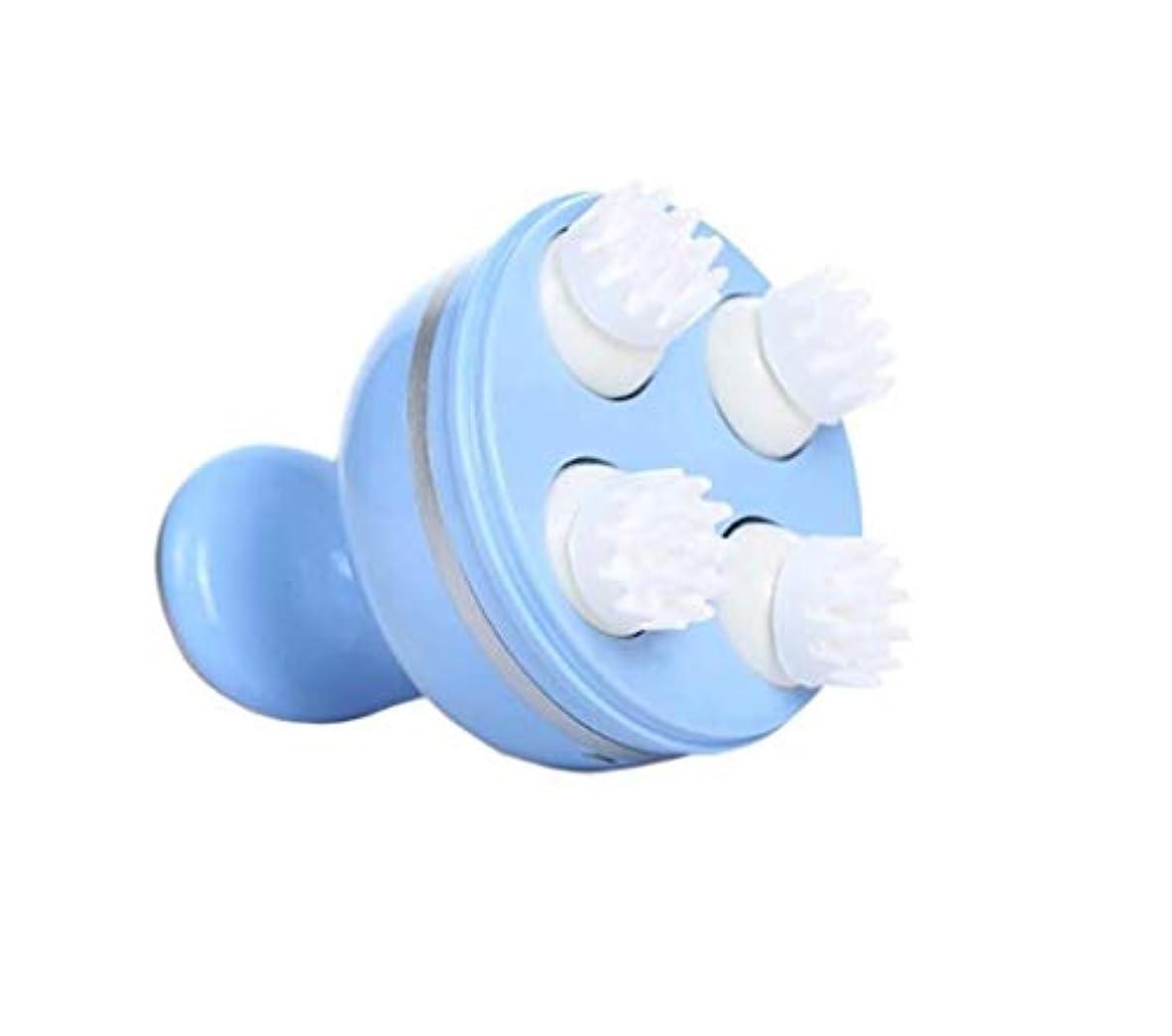 バルブチケット麻痺させるマッサージャー、電動ハンドヘルドヘッドマッサージャー、取り外し可能な多機能サイレントマッサージ、USB充電、持ち運びが簡単 (Color : 青)