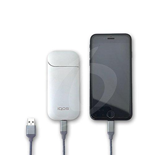 アイコス 充電器 iQOS iPhone 2in1 充電ケーブル 2A出力 急速充電 編込高耐久ナイロン素材 IQOS gloが充電...