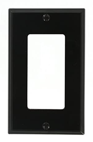 (Black) - Leviton 80401-NE 1-Gang Decora/GFCI Device Wallplate, Standard Size, Thermoplastic Nylon, Device Mount, Black