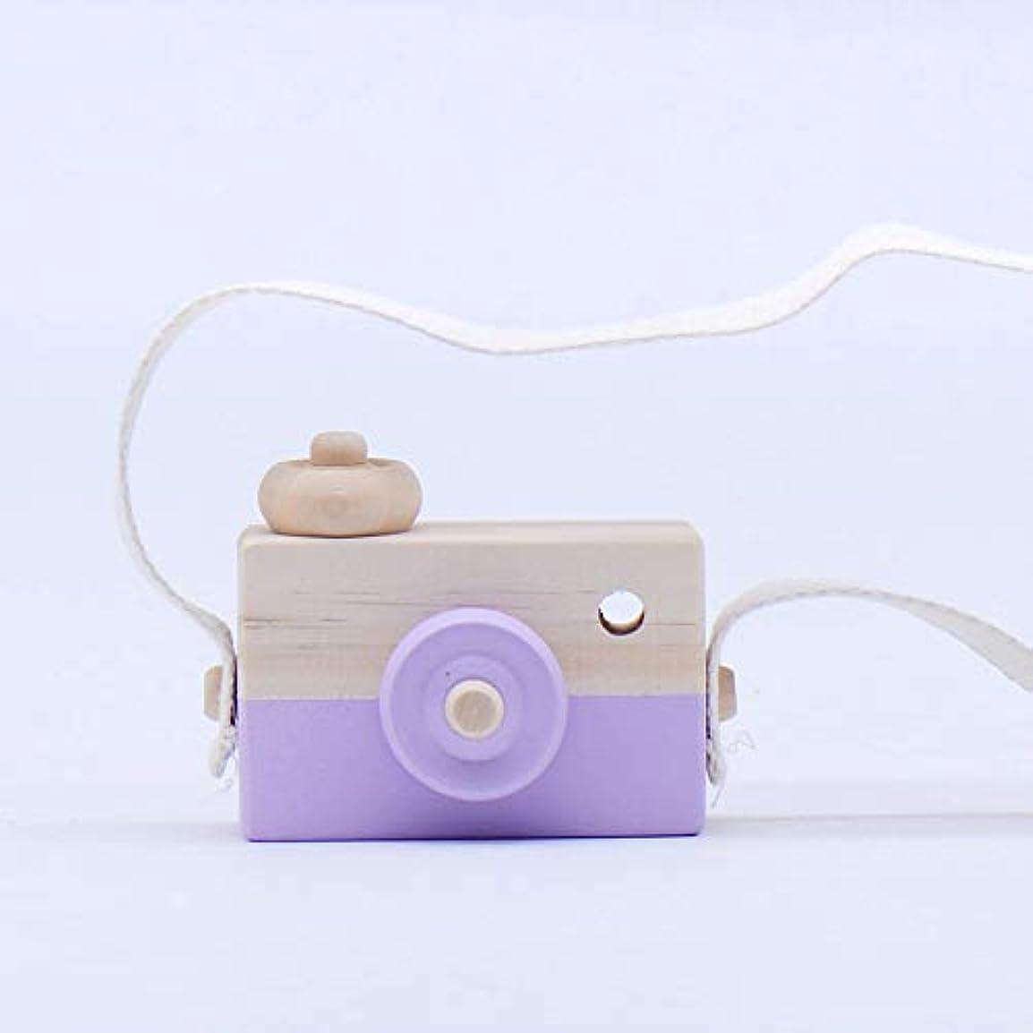 北方エスカレーター崇拝するミニかわいい木製カメラのおもちゃ安全なナチュラル玩具ベビーキッズファッション服アクセサリー玩具誕生日クリスマスホリデーギフト (紫の)