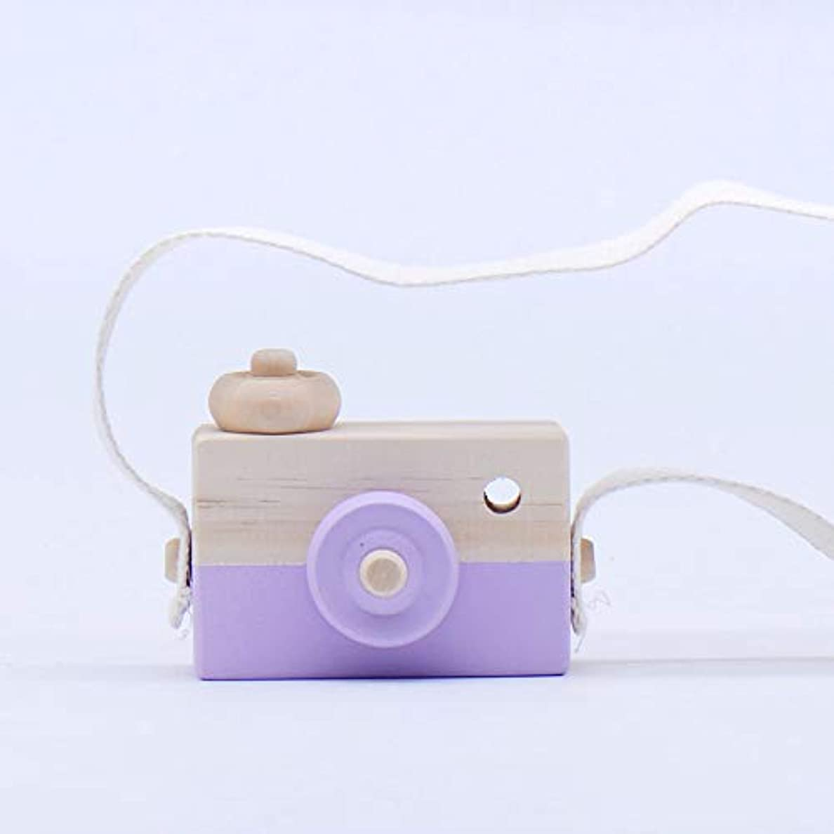 お勧めソーシャル市民ミニかわいい木製カメラのおもちゃ安全なナチュラル玩具ベビーキッズファッション服アクセサリー玩具誕生日クリスマスホリデーギフト (紫の)