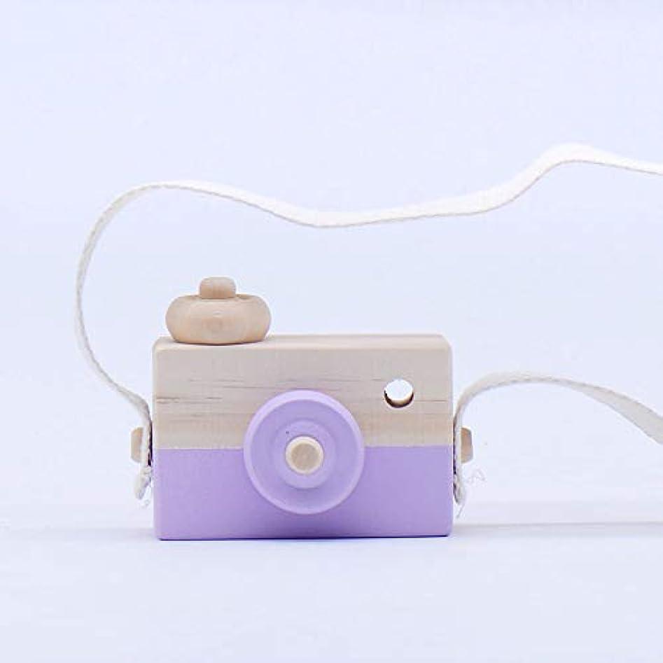懐疑的鎮痛剤作りますミニかわいい木製カメラのおもちゃ安全なナチュラル玩具ベビーキッズファッション服アクセサリー玩具誕生日クリスマスホリデーギフト (紫の)