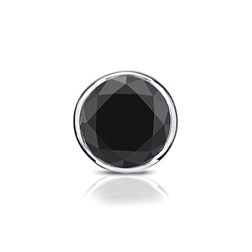 のスコア避ける見る人14 Kホワイトゴールドbezel-setラウンドブラックダイヤモンドシングルスタッドイヤリング( 1 / 4 – 2 ct、ブラック) screw-back
