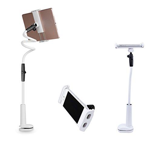 アームスタンド スマホ用 タブレット用 iPad スタンド 3way 卓上 195mm伸び可能 根元強化ネジ式 360度回転 自由 高さ調節 収納 動画視聴 iPad air iPhone Galaxy Xperia対応 ホルダー ピンク