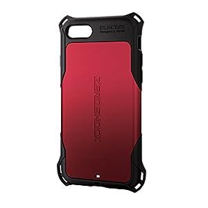 エレコム iPhone8 ケース カバー 衝撃吸収 【 落下時の衝撃から本体を守る 】 ZEROSHOCK スタンダード 衝撃吸収 フィルム付 iPhone7 対応 レッド PM-A17MZERORD