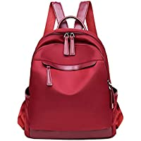 Fashion Solid Color Waterproof Schoolbag, Young Teens Girl Student Light School Bag, Large Capacity Nylon Backpack with Headphone Hole,Lightred