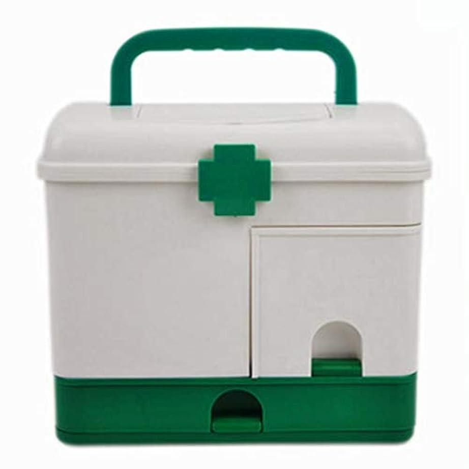 Yxsd 応急処置キット プラスチック製医療収納ボックス大型二重層ボックスベッド収納容器救急箱 (Color : Green)