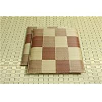 純国産/日本製 織込千鳥 い草座布団 『ブロック 2枚組』 ブラウン 約55×55cm×2P