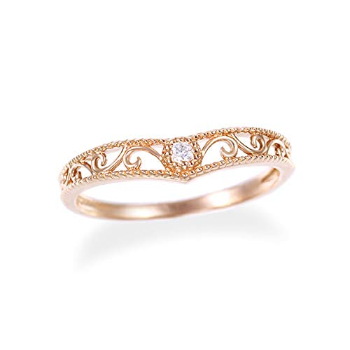 [ジュエリーツツミ]JEWELRY TSUTSUMI K10ピンクゴールドダイヤモンドリング(ピンキーリング) RFR357 10号
