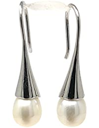 LooptyHoops Your Choice: Sterling Silver Freshwater Pearl Hook-Backed Teardrop Drop Earrings - OR - Matching Freshwater Pearl Pendant & Necklace - OR - Gift Set of All Three