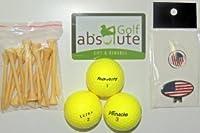 48イエローミックスゴルフボール、グレードC / D with FREE TEE 's &磁気アメリカ国旗ゴルフボールマーカー/帽子クリップ