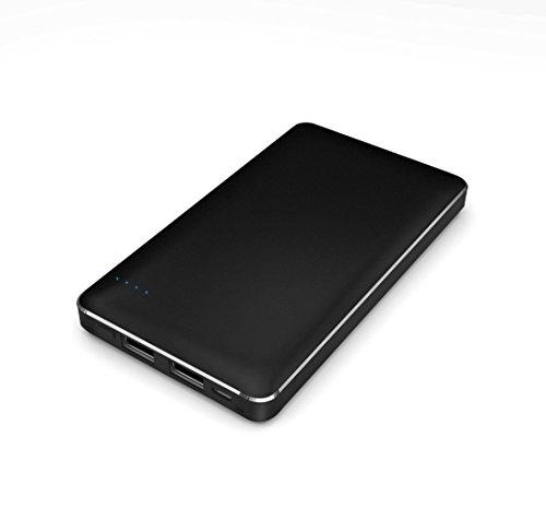 【Amazon.co.jp限定】SMILE WORLD 10,000mAh 大容量 薄型 モバイルバッテリー 2USBポート同時充電可能 リチウムポリマー電池使用 iPhone/Android/Xperia/各種スマホ/タブレット 等 対応 メタルブラック SWA-1-BK