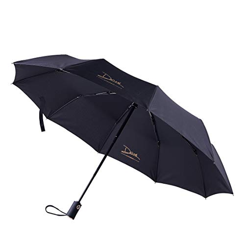 DORE 折りたたみ傘 紳士傘 自動開閉 軽量 晴雨兼用 耐風 超撥水 手作 10本骨 大きい (ブラック)