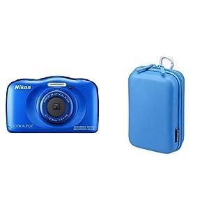 Nikon デジタルカメラ COOLPIX W100 防水 W100BL クールピクス ブルー & Digio2 デジタルカメラケース EVA セミハード Lサイズ ブルー 47622