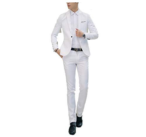 GETS(ゲッツ) スーツ メンズ 2点セット スリーピース 上下セット ジャケット スラックス セットアップ1つボタン ビジネススーツ スリム 着心地良い 礼服 結婚式 就職スーツ オールシーズン シンプルデザイン スタイリッシュスーツ パーティー スーツ (ホワイト,Xl)