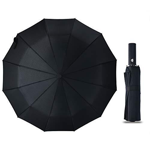 XCHMYi 折りたたみ傘 自動開閉 頑丈な12本骨 大きい メンズ傘 Teflon加工 超撥水 210T高強度グラスファイバー 耐強風 傘ケース付き 梅雨対策 晴雨兼用(ブルー、ブラック) (ブラック)