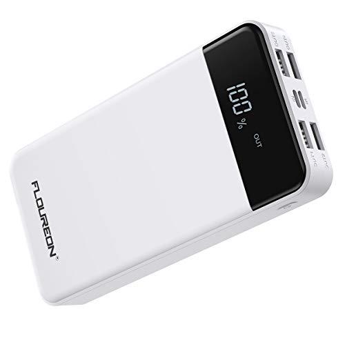 FLOUREON モバイルバッテリー 20000mAh 大容量 携帯充電器 Lightning&Micro入力 4USB出力ポート LEDディスプレイ iPhone/iPad/Android各種対応 ホワイト【一年保証付き】