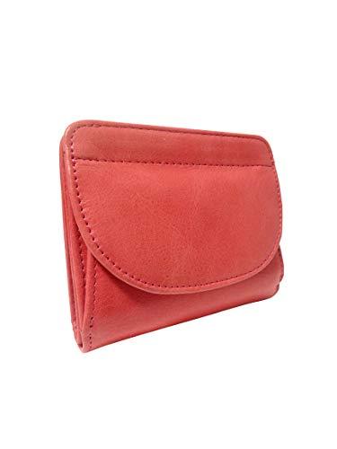 [ライズオンフリーク] レディース ミニ財布 2つ折 ウォレット 無地 カード入れ付き 事務用品 ちいさい JW-45 (01 コーラル)