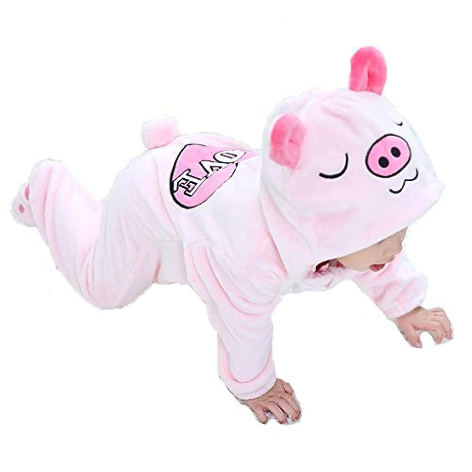 に対応するはしごうなるカバーオール ロンパース 赤ちゃん ベビー服 長袖 着ぐるみ 出産祝い 60 70 80 90 cm  ベビーウェア ハロウィン 衣装 (ピンク, 80)