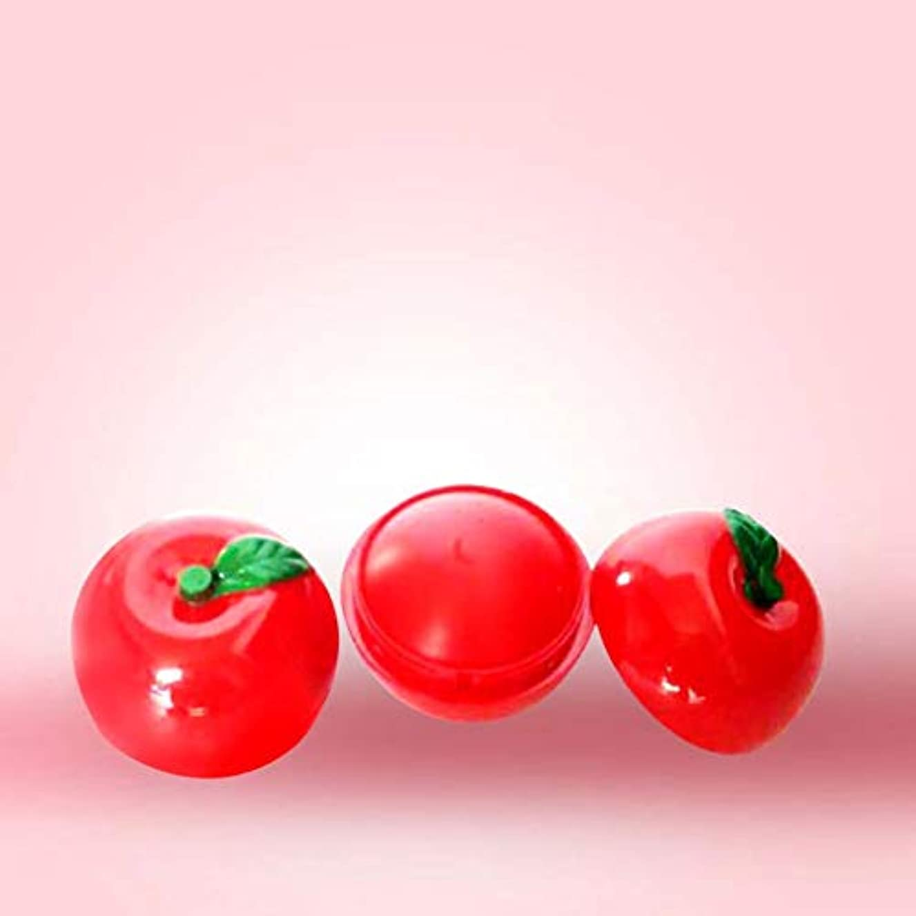 KISSION 保湿と持続するリップクリーム ベビーリップスキンケア かわいいリンゴの球形の口紅 栄養と保湿 修理水リップスティック