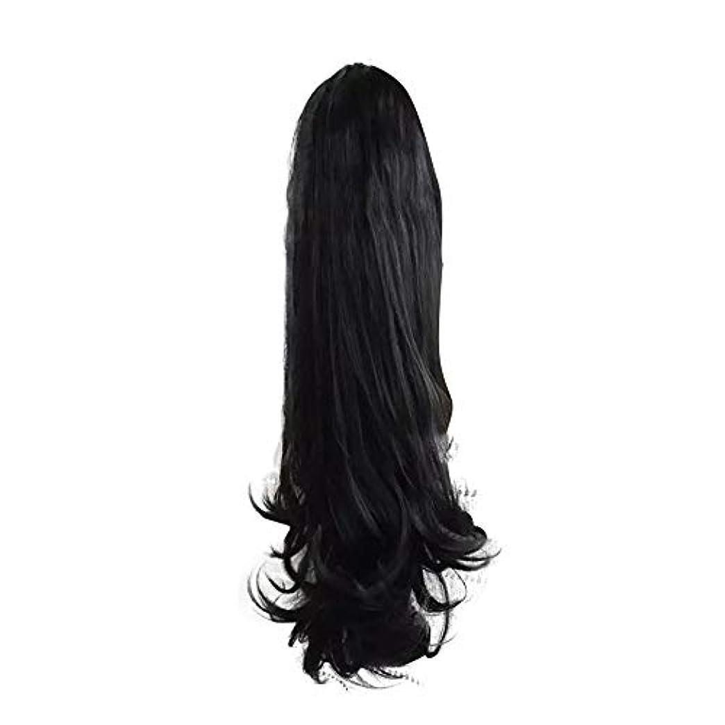 振動する池何故なの女性のための合成かつらの周りラップで巻き毛のポニーテールエクステンションクリップ自然に見える耐熱性、黒