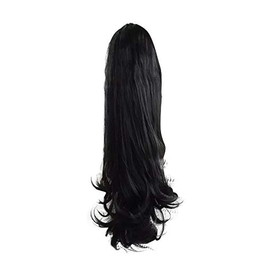 慢なインタビュー持っている女性のための合成かつらの周りラップで巻き毛のポニーテールエクステンションクリップ自然に見える耐熱性、黒