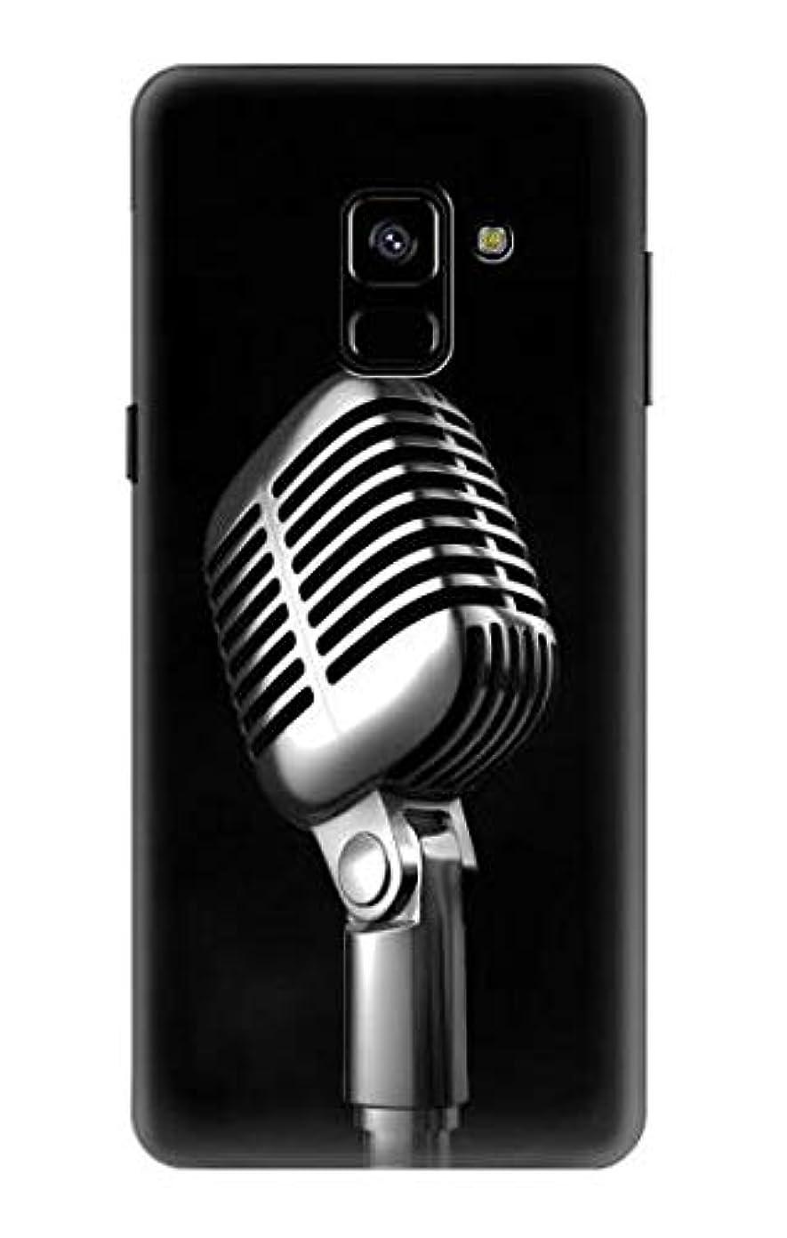 抹消プーノ省略するJP1672A88 レトロ マイク ジャズ音楽 Retro Microphone Jazz Music Samsung Galaxy A8 (2018) ケース