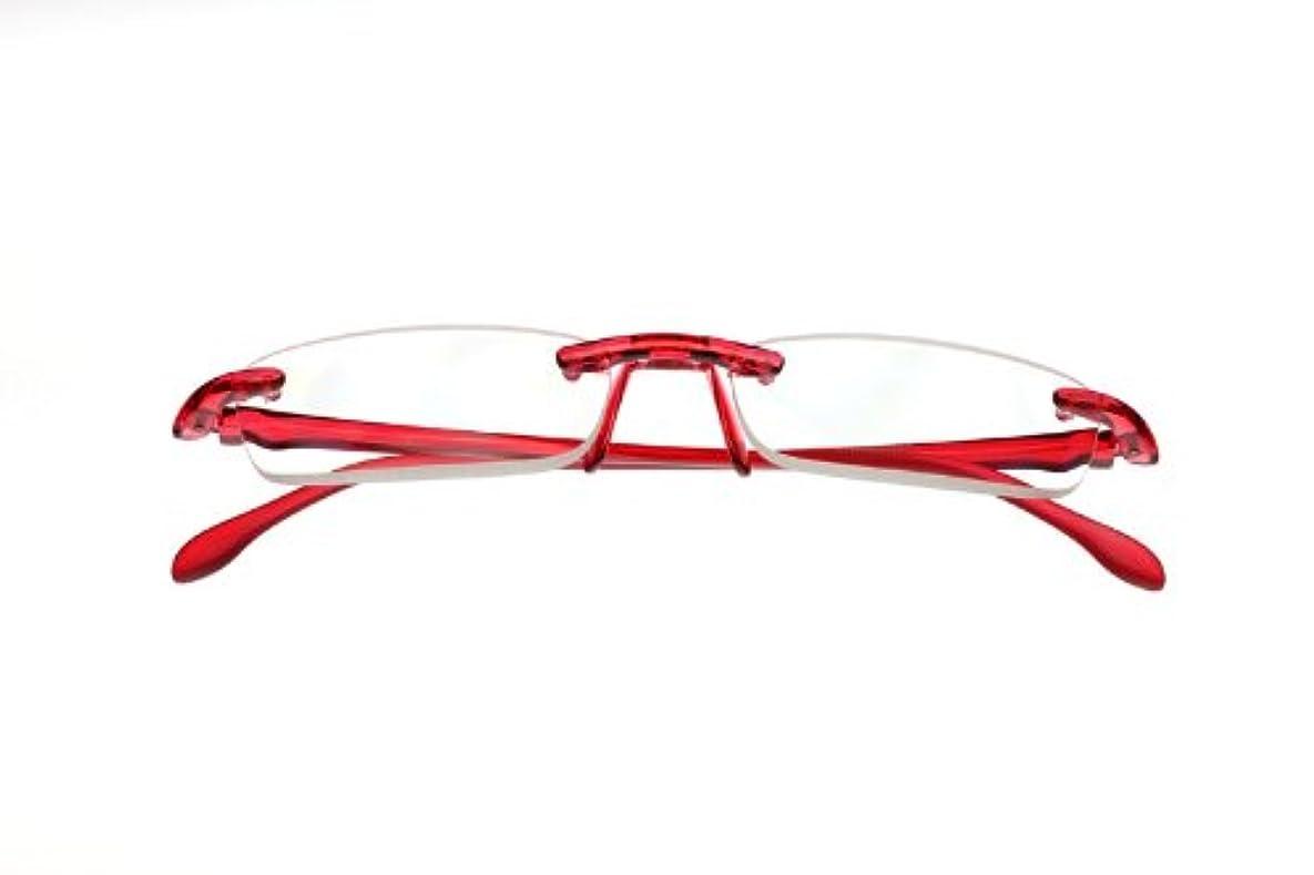 月曜日怪しいガラス【おしゃれシニアグラス】エアリーダー 角型 EYE MAGINE/アイマジン 軽量老眼鏡 (+1.0, チェリー)