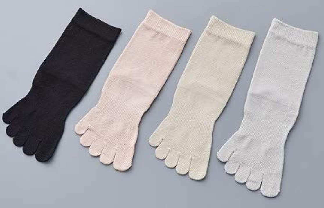 見る人メロン自分のために婦人 シルク 5本指 靴 下最高級 シルク100% 使用 プレゼントに最適 22-24cm 太陽ニット S90 (グレー)