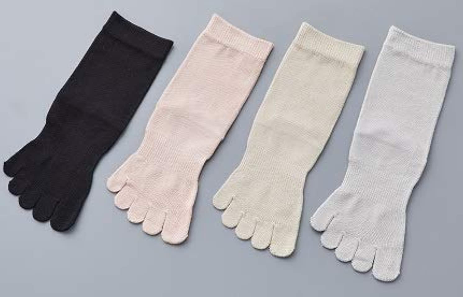 拮抗するトレーダーソフトウェア婦人 シルク 5本指 靴 下最高級 シルク100% 使用 プレゼントに最適 22-24cm 太陽ニット S90 (グレー)